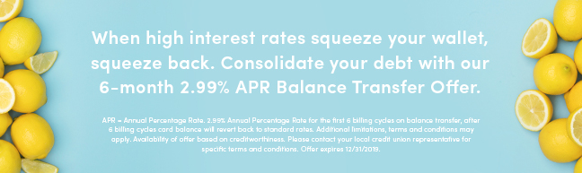 Consolidate your debt with our 6-month 2.99% APR balance transfer offer